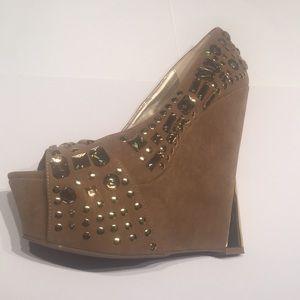 "Promise Tan Platform 6"" Heels Gold Jewels& Studs 9"
